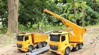 getlinkyoutube.com-รถบังคับ รถแม็คโคร รถเครน รถบรรทุก เล่นขุดดิน   Crane truck   Dump truck   Excavator