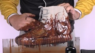 getlinkyoutube.com-How to clean Yeezy 750 Boost vs chocolate syrup - Crep Protect Cure -EXTREME TEST 1