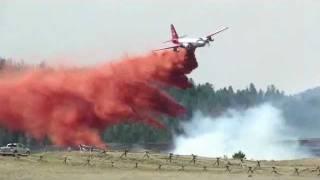 Warm Springs Fire -- Air Tanker Fire Retardant Drop - Dubois, Wyoming
