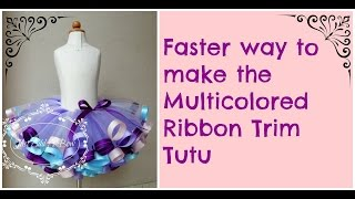 getlinkyoutube.com-HOW TO: Faster Way to Make the Multicolored Ribbon Trim Tutu by Just Add A Bow