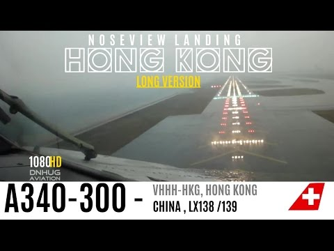 A340 Cockpit Landing in Hong Kong : LONG VERSION