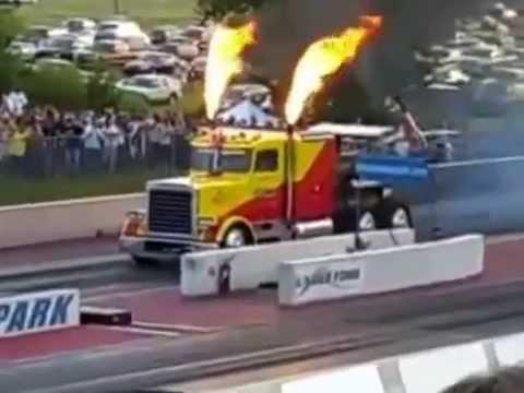 trailer con turbina de avion (avion truck engine)