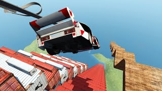 getlinkyoutube.com-CRASH TESTING CARS OFF STAIRCASE OF DEATH! Driving Off a Cliff! (BeamNG Drive Mods)