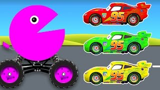 getlinkyoutube.com-Learn Colors with Packman Cars Cartoon and Color Lightning McQueen - Colours Video for Children