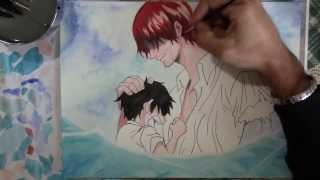 getlinkyoutube.com-Speed drawing Luffy and Shanks -One Piece-