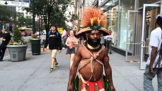 getlinkyoutube.com-Tribesmen From Papua, New Guinea Visit New York City