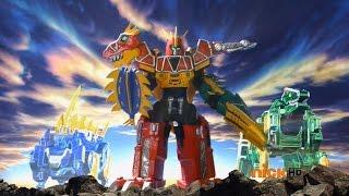 getlinkyoutube.com-Power Rangers Dino Charge - Return of the Caveman - Megazord Fight