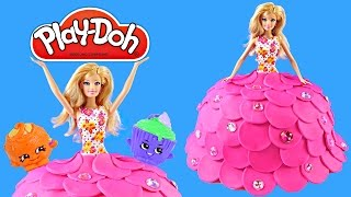 getlinkyoutube.com-Play Doh Created BARBIE Cake Dress Surprise Eggs FROZEN SHOPKINS MLP Vestido de la Torta Plastilina