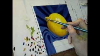 getlinkyoutube.com-Lemon on cloth. Oil painting by Jane Palmer