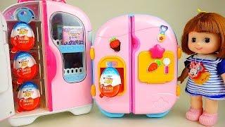 getlinkyoutube.com-Kinder Joy and Baby Doll refrigerator Surprise eggs + Popcorn toys