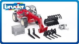 getlinkyoutube.com-Bruder Toys Manitou Telescopic Loader MLT 633 with Accessories #02126
