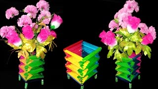getlinkyoutube.com-How To Make Popsicle Sticks Flower Vase || Popsicle Stick Crafts Ideas || You Can Do This