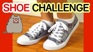 getlinkyoutube.com-SHOE ART CHALLENGE - Draw + Color Pusheen Cats on Canvas Shoes with Sharpie