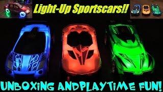 getlinkyoutube.com-Children's Toy Cars: Hot Wheels Hyper Racer Sportscars and Bump & Go Pick-Up Truck