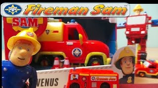 getlinkyoutube.com-Feuerwehrmann Fireman Sam Firefighter Venus Truck Playset Review Built In Water Gun HD