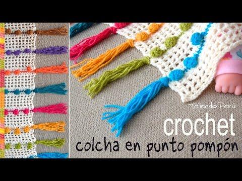 Colcha tejida en punto pompón a crochet - Tejiendo Perú