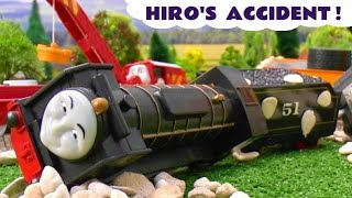 getlinkyoutube.com-Thomas And Friends Peppa Pig Play Doh Story Hiro's Accident Crash Thomas Tank Playdough Grandad Dog