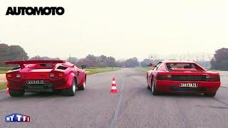 getlinkyoutube.com-Défi : la Ferrari Testarossa (390ch) vs la Lamborghini Countach (375ch)