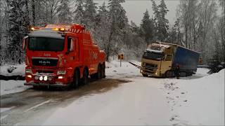 Latvian truck stuck in ditch