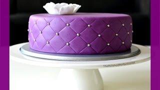 getlinkyoutube.com-Quilted Cake - gestepptes Muster - Fondanttorte mit quilted / gestepptem Muster - von Kuchenfee