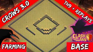 getlinkyoutube.com-Clash Of Clans: New Updated TH9 Dark Elixir Farming Base - Radiating's Crows 3.0 + Replays 2016