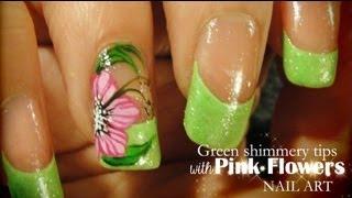 getlinkyoutube.com-Green shimmery tips & Pink Flowers nail art