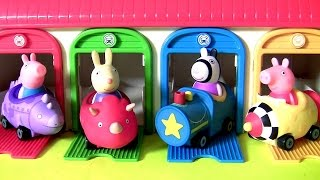 Pig George & Peppa Pig Parks Their Cars in Car Garage Tayo the Little Bus  꼬마버스 타요 깜짝 계란 장난감 (페파피그)