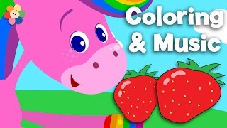 Fruit | Coloring and Music| Rainbow Horse | BabyFirst TV