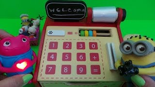 getlinkyoutube.com-Worlds Best Deluxe Wooden Toy Cash Register Till & Scanner Set with the Minions