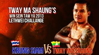 getlinkyoutube.com-Tway Ma Shaung  63 kg Vs Krung / Petchtae Tor, MaxMuayThai 79 kg  -  Myannar Lethwei, Lekkha Moun