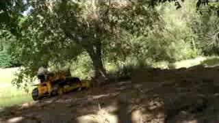 getlinkyoutube.com-1961 Allis-Chalmers H-3 pushing down a large tree