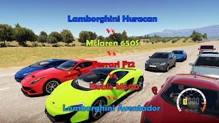 getlinkyoutube.com-Forza Horizon 2 - Highway Drags: SUPERCAR Battle 2! (650S, F12, Huracan, Noble, Aventador)