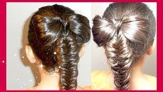 getlinkyoutube.com-Hair Bow With Fishtail Braid Tutorial * Mono con Trenza de Espiga/Cola de Pescado