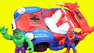 getlinkyoutube.com-Spiderman Crime Cruising Car Hulk Playskool Heroes Marvel Green Lantern Battle Imaginext Joker