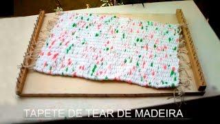 getlinkyoutube.com-Artesanato: Tapete de tear de madeira - Craft: Mat wooden loom - Artesanía: Mat telar de madera
