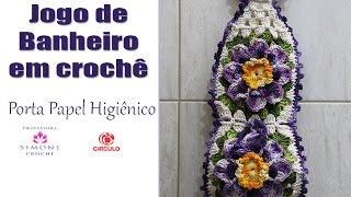 getlinkyoutube.com-Porta Papel Higienico Crochê ( jogo de banheiro Paty) - Professora Simone