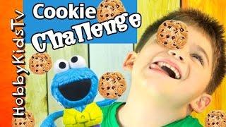 getlinkyoutube.com-Cookie Monster Cookie FACE Challenge! HobbyKids + HobbyDad Take the Test by HobbyKidsTV