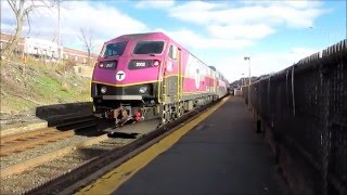 getlinkyoutube.com-MBTA Framingham / Worcester Line trains at Newtonville