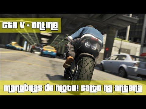 GTA V - Online - Manobras de MOTO! Subindo na antena!