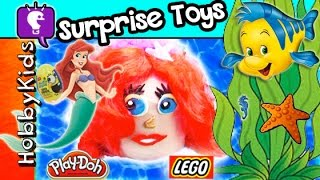 getlinkyoutube.com-GIANT Play-Doh Lego Head Ariel Makeover! GLITZI Globes + Chocolate Egg by HobbyKidsTV