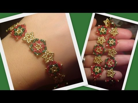 Beaded Star Bracelet/Necklace Christmas set Beading Tutorial by HoneyBeads