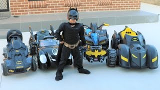 getlinkyoutube.com-Batman's Batmobile Collection Test Driving Kids Electric Battery Powered Ride On Cars Ckn Toys