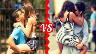 getlinkyoutube.com-KISSING BATTLE - Who Is The BEST Kisser Social Experiment!