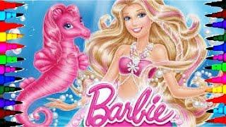 getlinkyoutube.com-BARBIE and Prince KEN BEST LEARNING Coloring Book l Pages Kids Learn Rainbow Mermaid Colors Videos