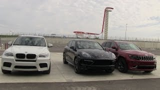 getlinkyoutube.com-2014 Jeep Grand Cherokee SRT vs BMW X5 M vs Porsche Cayenne GTS 0-60 MPH Mashup Review