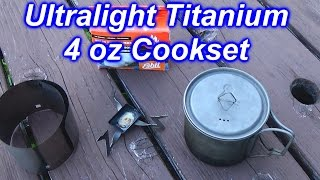 getlinkyoutube.com-Backpacking Ultralight 4 oz Titanium Cookset~Pot, Esbit Cube Stove Stand, and Windscreen
