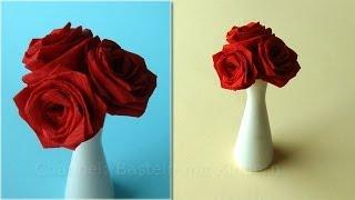 getlinkyoutube.com-Origami Rose - Blumen basteln mit Papier - DIY Geschenkideen - Basteln Ideen - Rosen falten