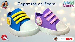 getlinkyoutube.com-Zapatos hechos en Foami o Goma Eva Para Baby Shower