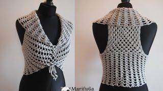 getlinkyoutube.com-How to crochet vest bolero shrug, Chaleco, for beginners para principiantes free tutorial
