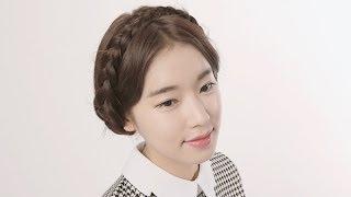 getlinkyoutube.com-[셀프헤어] 귀엽게 땋아 올린 머리 BRAIDED UPDO HAIR